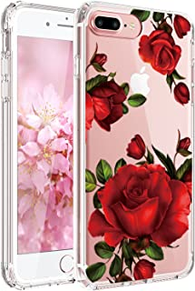 JAHOLAN Cute Girl Floral Design Clear TPU Soft Slim Flexible Silicone Cover Phone Case Compatible with iPhone 7 iPhone 8 - Beautiful Red Rose