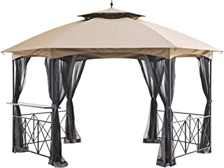 Garden Winds Replacement Canopy Top Cover and Netting Set for The Genoa Hexagon Gazebo - RipLock 350