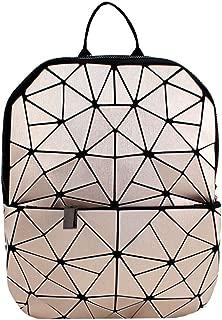 Leather Luminous Backpack Geometric Reflective Travel Rucksack for Women Girls (Light Gold)