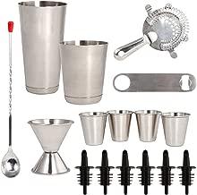 16 Pcs Cocktail Shaker Home Bar Set – Complete Bartender Kit with Double Bar Jigger, Pour Spouts, Drink Shaker, Hawthorne Strainer, Bar Spoon, Bottle Opener and Tin Shot Glasses