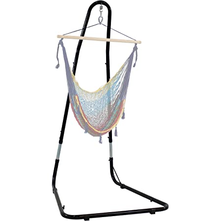 ZENY Hanging Chair Stand Hanging Hammock Stands Heavy Duty Steel C Stand Frame for Chair Porch Swing Indoor Outdoor