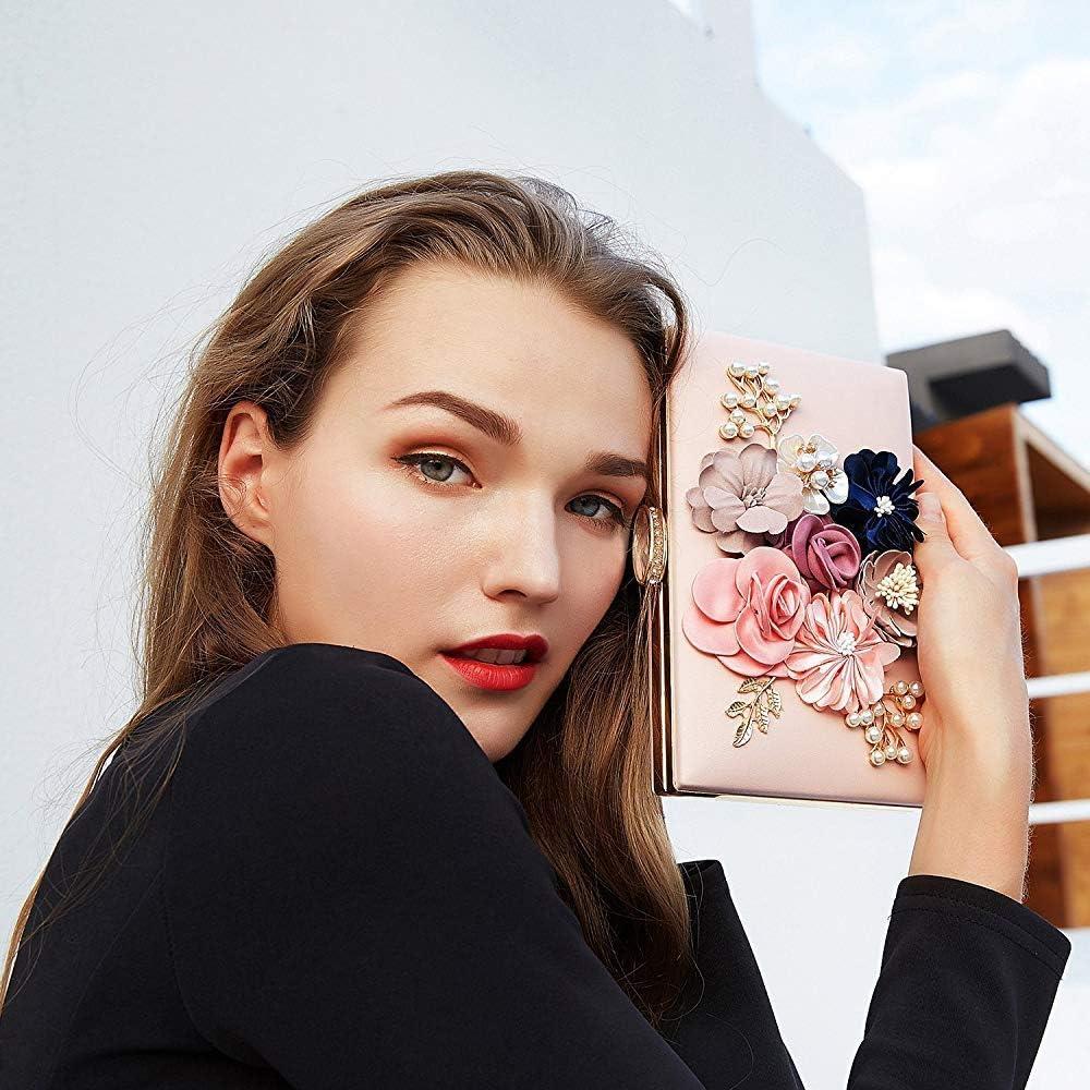 Superw Femmes Fleur Embrayages Sac Sacs À Main Designer Sacs De Soirée De Fête De Mariage Cocktail Pochettes Perles Perlé (Couleur : C) C