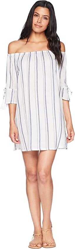 Stripe Out Off the Shoulder Dress Cover-Up