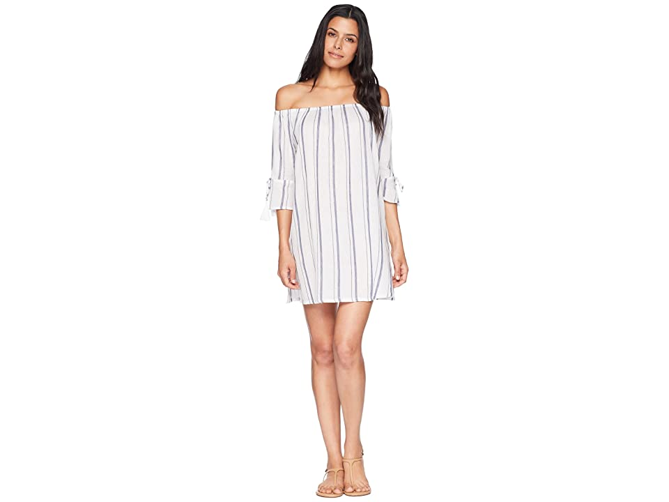Lucky Brand Stripe Out Off the Shoulder Dress Cover-Up (Indigo/White) Women