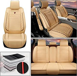 DBL 5 Seat Leather Car Seat Cover Full Set Fit for Lincoln MKC MKZ MKX MKS MKT Continental Navigator Automotive Seat Covers Accessories Type A  Beige