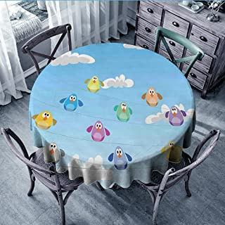 Linhomedecor Banquet Round Tablecloth Birds on a Wire,Flock of Colorful Funny Cartoon Birds Perching on Cables Kids Nursery Print,Multicolor Dinning Tabletop Decoration Diameter 36 inch