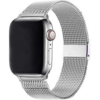 WFEAGL コンパチブル apple watch バンド, コンパチブルiWatch通用ベルト apple watch series 6/5/4/3/2/1, SEに対応 交換ベルトステンレス製 (38mm 40mm, シルバー)