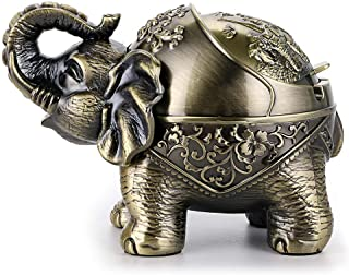 Hipiwe Elephant Windproof Ashtray with Lid, Desktop Metal Cigarette Ashtray Holder for Indoor or Outdoor Use, Unique Tobacco Ash Tray for Patio/Outside/Office/Home Decor