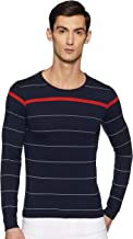 Qube By Fort Collins Men's Striped Regular Fit T-Shirt