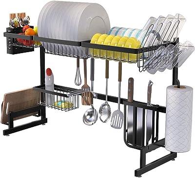 DYYDMM Utensilios De Cocina Mostrador De Almacenamiento De Acero Inoxidable Mostrador De Ahorro De Espacio Soporte Organizador Negro(85 * 32 * 52 Cm)