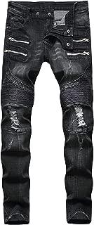 Men's Ripped Slim Straight Fit Biker Skinny Fit Denim Jeans with Zipper
