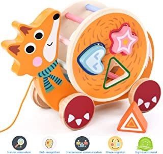 CAMDEA Animal Cartoon Pull Push Wooden Toys for Toddlers, Building Blocks Shape Sorter Toys for 1 2 Year Old Boys and Girls (Fox)