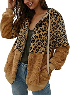 MIS1950s Fashion Women's Zip Up Faux Shearling Shaggy Coat Jacket Leopard Print Patchwork Hoodie Winter Warm Cardigan