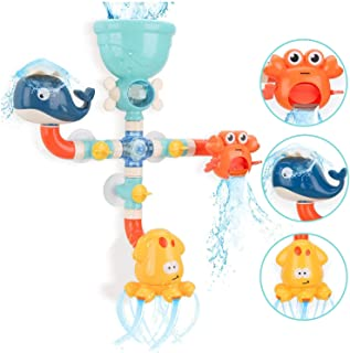 KH Bath Toys DIY Pipes, Cute Animal Water Spray Baby Bath Toys, Bathtub Toys for Toddlers Kids 1 2 3 4 5+ Years Old Girls ...