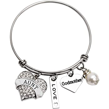 LParkin Godmother Bracelet Godmothers are a Blessing Thank You for Being Mine Bangle Stainless Steel Godmother Gift Jewelry Bracelets