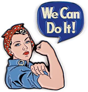Rosie The Riveter and We Can Do It Enamel Pin Set - 2 Unique Colored Metal Lapel Pins