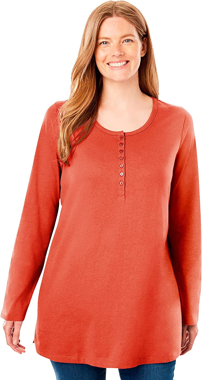 Woman Within Women's Plus Size Perfect Long-Sleeve Henley Tee Shirt