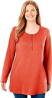 Women's Plus Size Perfect Long-Sleeve Henley Tee Shirt
