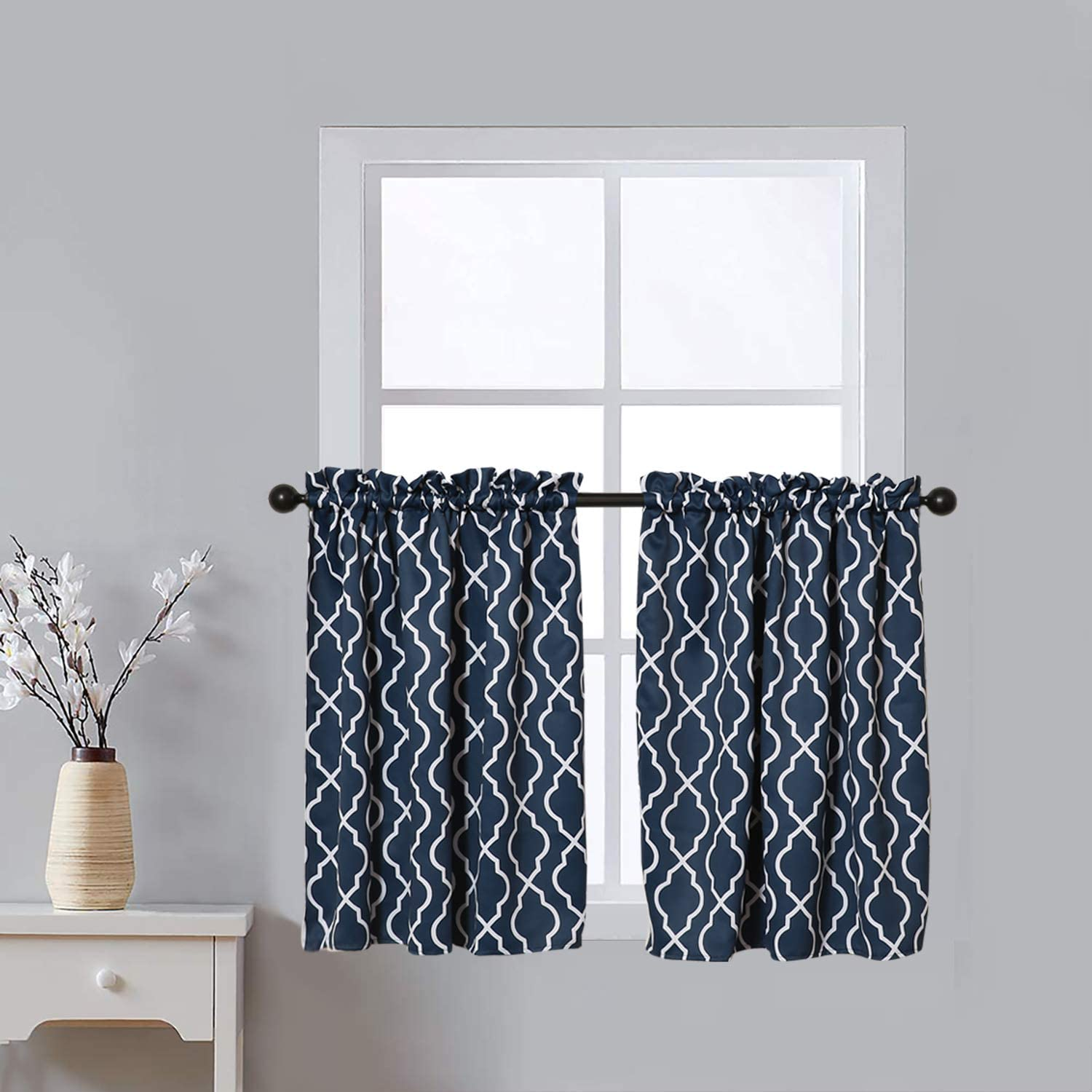 SquarePie New Free Shipping gift Curtain Tiers Moroccan Tile Print Window Blackout Trea