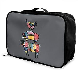 鶏 豚 牛 部位 グルメシェフ キャリーオンバッグ 旅行バッグ/大容量/トラベルバッグ/レディース メンズ兼用 旅行バッグ/軽量/収納バッグ/旅行用品/機内持ち込み 37×15×27cm