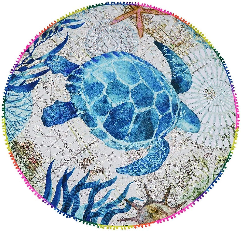 Picnic Blanket Waterproof Backing, Turtle Pattern Printing Round Beach Towel Outdoor Picnic Mat Moisture Pad Baby Crawling Mat, 146  146cm