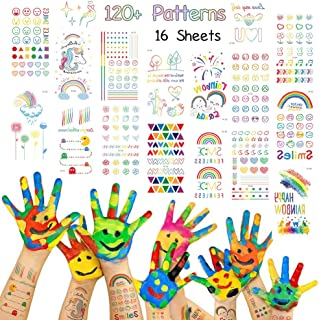 Rainbow Seies Temporary Tattoos 120 PCS for Kids or Teen Girls, Colorful Heart Flower Smile Face Emoji Good Mood Patterns Fack Tattoos Body Art Water Transfer Sticker Children Party Favors