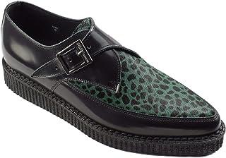 Zapatos de tierra de acero cuero negro verde leopardo pelo enredaderas monje hebilla puntiaguda