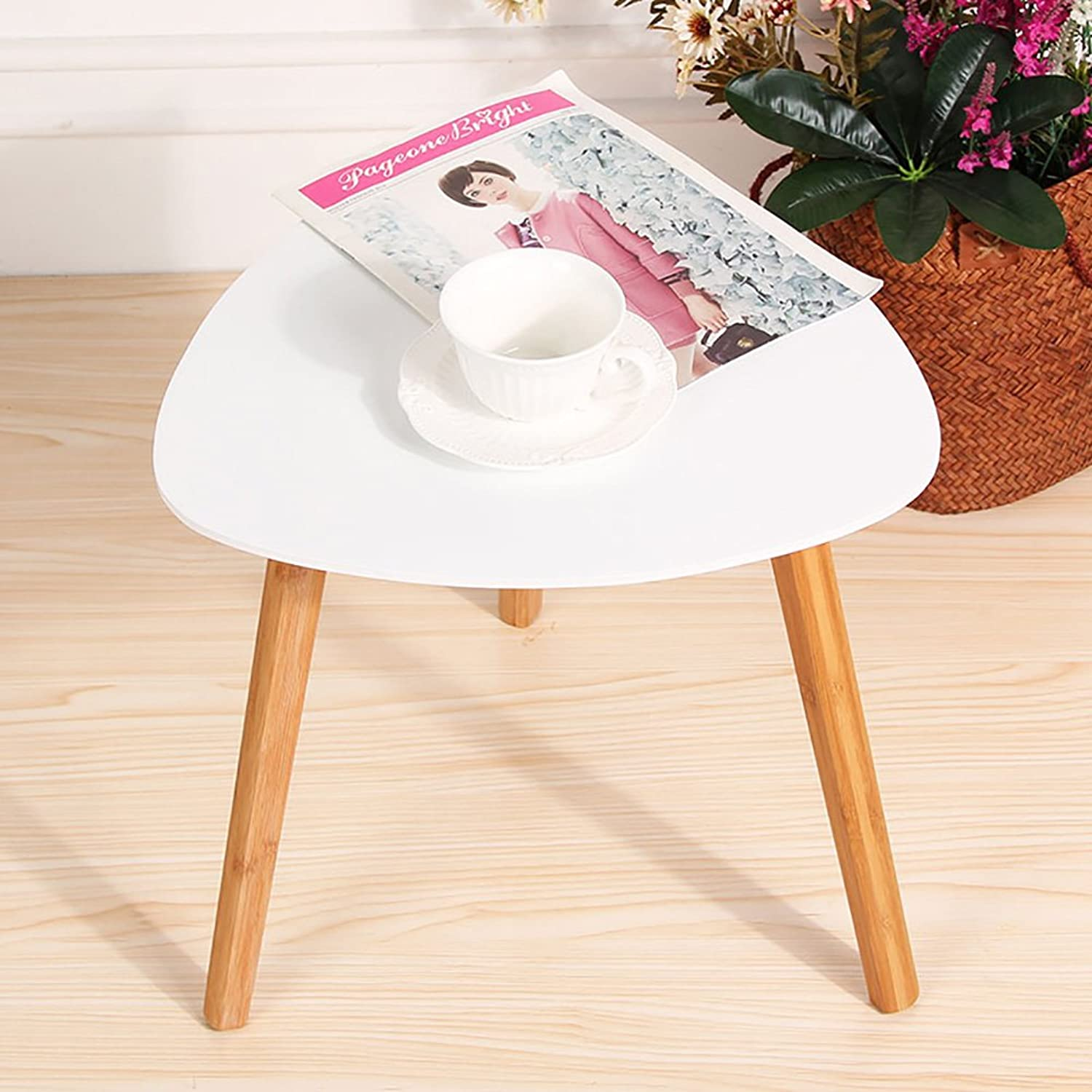 Solid Wood Waterproof Side Table, Triangle Living Room Sofa Table Coffee Table Bedroom Night Table Vintage Telephone Table-White 40X40cm