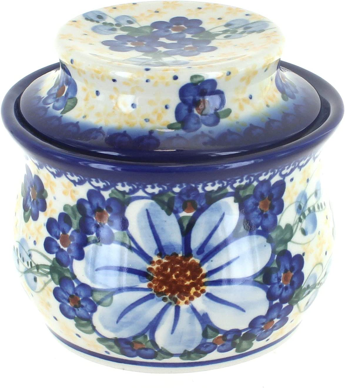 Blue Rose Polish Pottery Daisy Butter Surprise French Dish Over ...