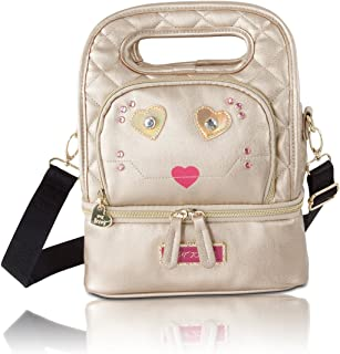 Betsey Johnson Kitch Cat Face Oval Top Handle Insulated Snack Lunch Tote bag - Metallic