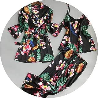 Women Pajamas Sets Sleepwear Silk Nightwear 3 Pcs Sleepwear Floral Pyjama Set,