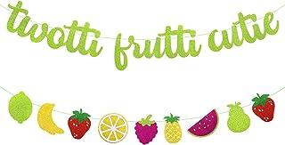 2nd Birthday Decorations Twotti Frutti Cutie Banner Fruit Pineapple Watermelon Orange Summer Themed Baby Boy Girl Second B...