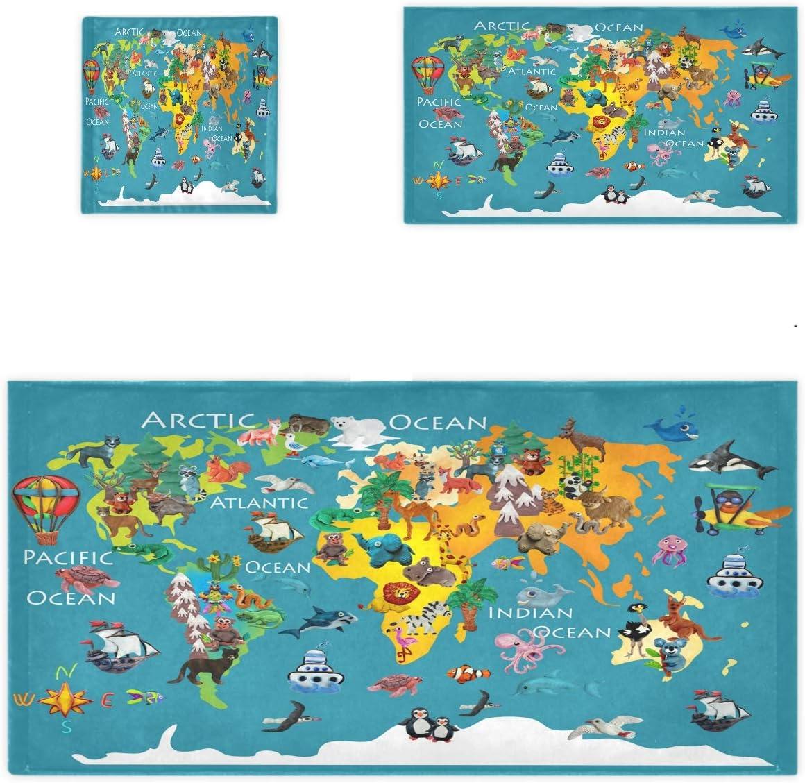 Naanle Cute 35% OFF Cartoon Max 41% OFF Animals World Luxury Set Map Soft Decorative