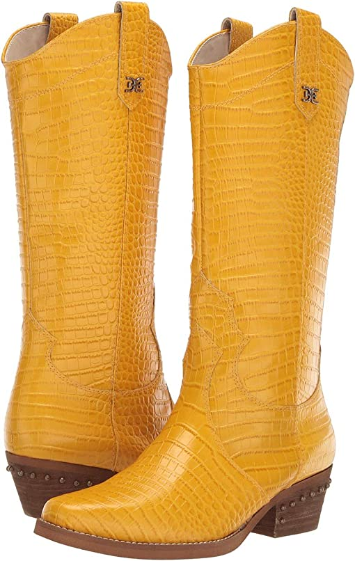 Dijon Yellow Kenya Croco Embossed Leather