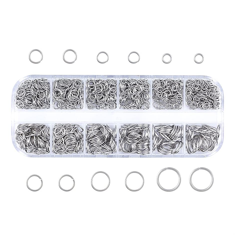 Pandahall Mixed Size 4-10mm Iron Open Jump Rings Nickel Free Platinum Plated Unsoldered Round Ring Connectors for Chainmail Jewelry Bracelet Necklace Making