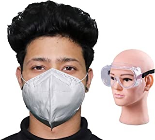 HACER Combo of 1 Piece Goggle N95 CE & ISO Certified 5 Layer Disposable Face Mask with Nose Pin for Men & Women (10 PCS)