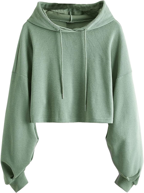 Verdusa Women's Plus Drop Shoulder Drawstring Hooded Crop Pullover Sweatshirt