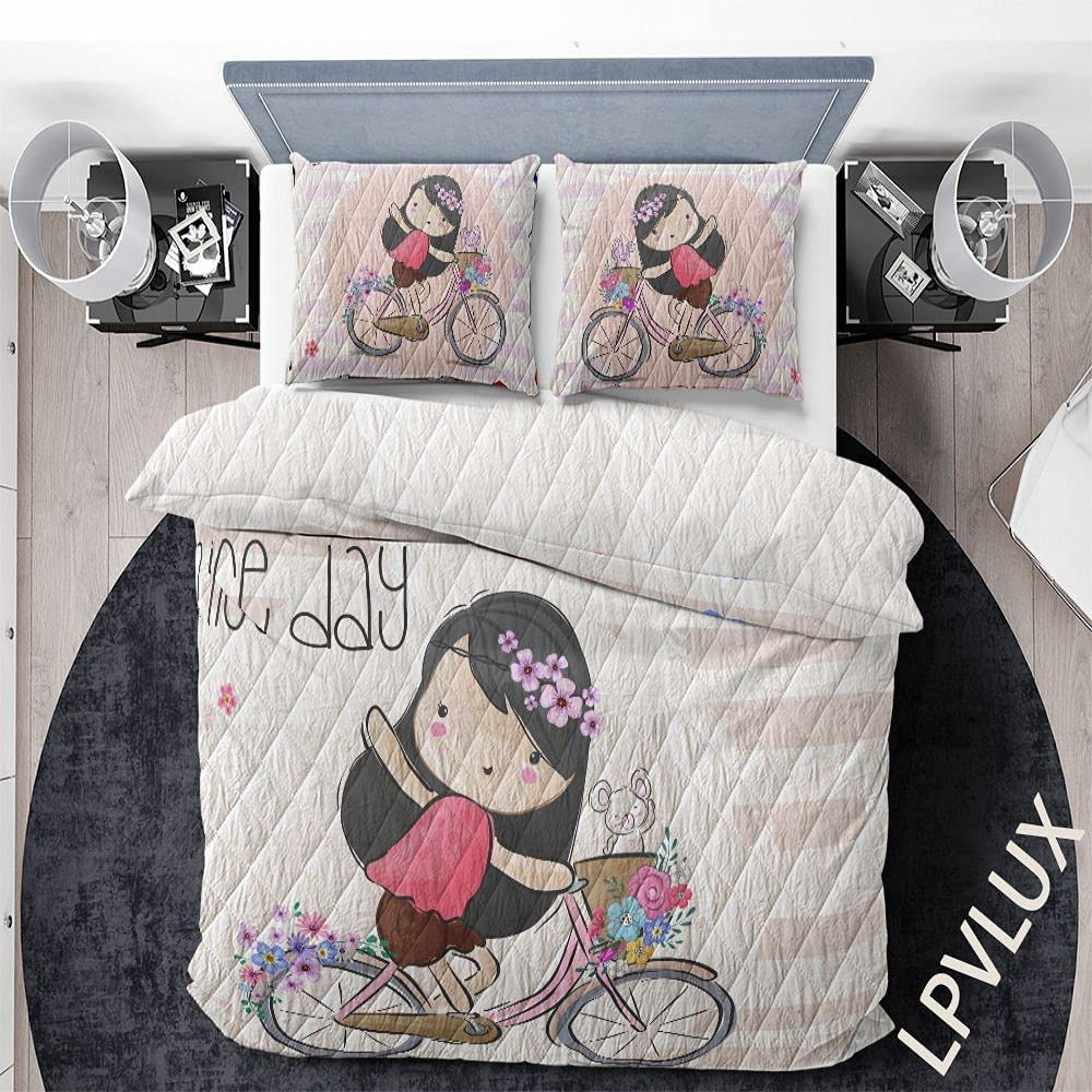 GANTEE Cheap sale Cute Girl Bicycle Have A Day Bedding New life with Nice Set Quilts
