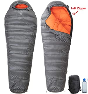 Dog Mountain Gear 20 Degree F (Tested Extreme Low -6°F) 650 Fill Power Hydrophobic Down Ultralight Sleeping Bag 0°F