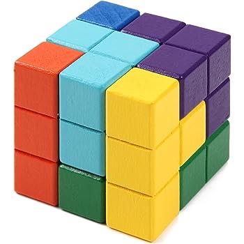 [スプレンノ] 積み木 ブロック 賢人パズル 知育玩具 立体パズル ゲーム カラフル 組み合わせ 木製