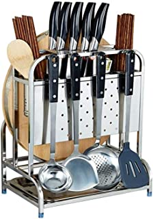 DUDDP Étagère cuisine 304 cuisine en acier inoxydable Comptoir du plateau Organisateur, Porte-couteau, coupe Rack Conseil,...
