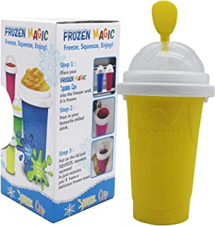 Slushy Maker Cup Magic Squeeze Ice Cup Smoothie Cup Silica Travel Portable Double Layer frozen Cup Pinch into Ice Cup Chil...