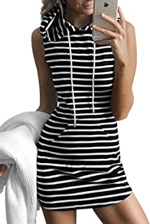 Joeoy Women's Casual Drawstring Striped Bodycon Hoodie Dress