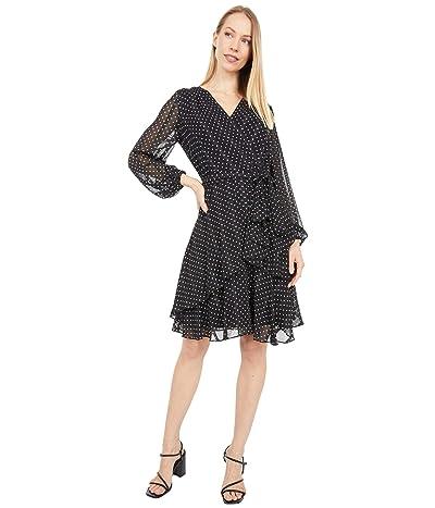 Tahari by ASL Long Sleeve Surplus Mock Wrap Tiered Polka Dot Dress (Black/White Dot Stripe) Women
