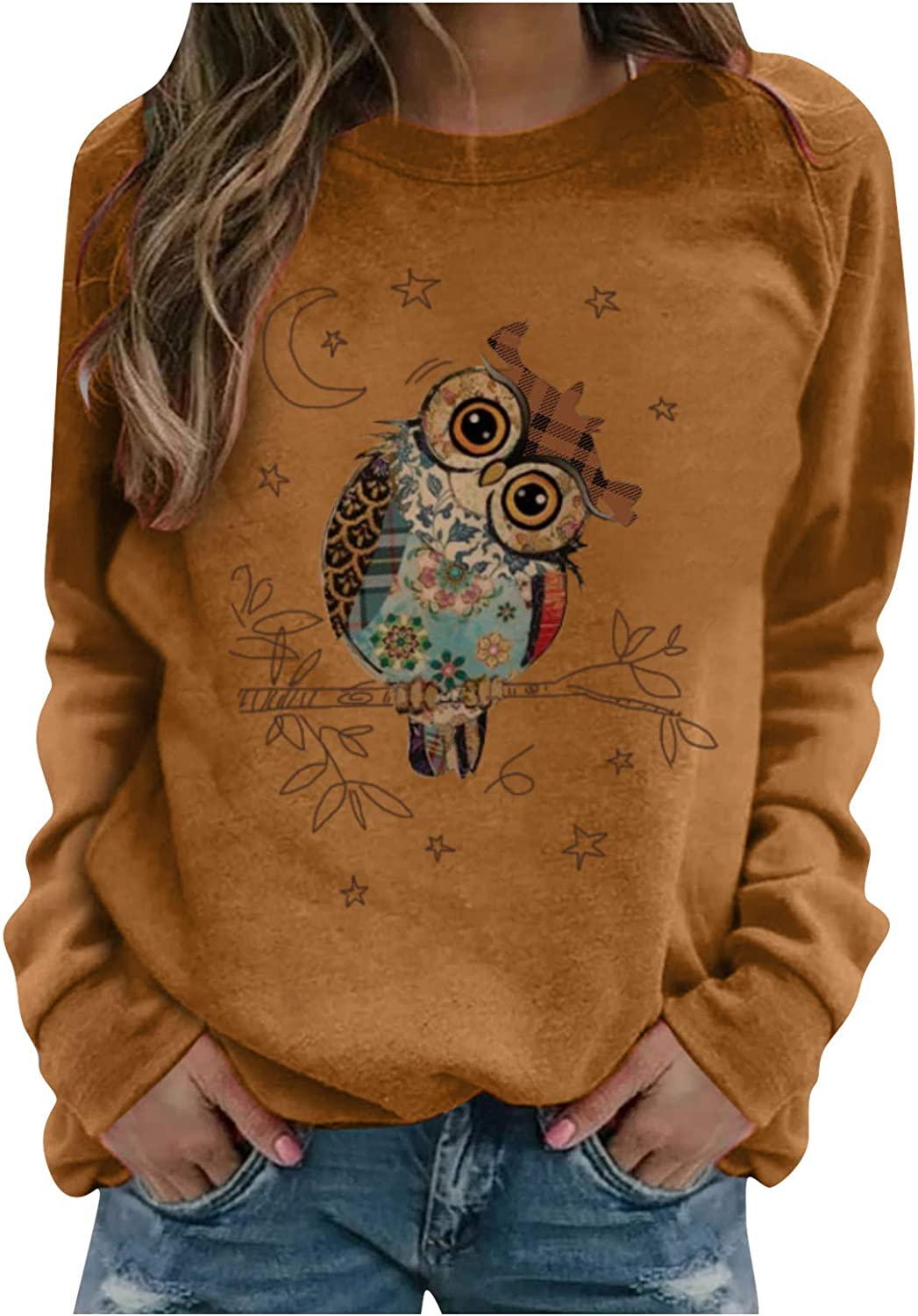 Hotkey Womens Sweatshirt Dragonfly Printed Pullover Crewneck Long Sleeve Tops Casual Loose Blouse Shirts for Women Teen Girls