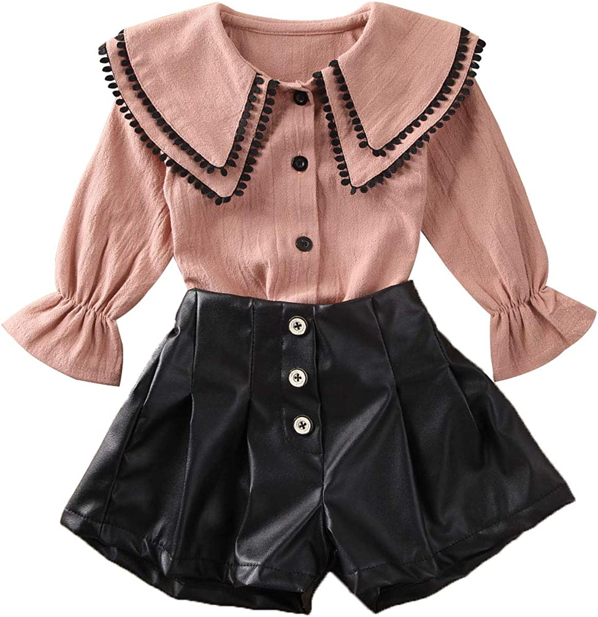 1-6Y Toddler Kids Baby Girl Clothes Ruffle Long Sleeve Button Down Shirts Top +Leather Shorts Skirt Summer Outfits Set