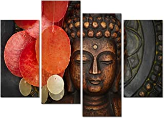 Buddha Canvas Wall Art Wood Buddha Statue Canvas Prints Keep inner Peaceful Buddha Artwork for Living Room Yoga Room (12