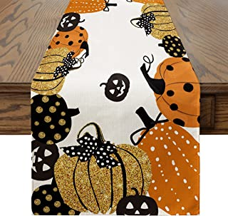 Artoid Mode Halloween Jack-O-Lantern Pumpkin Table Runner, Holiday Kitchen Dining Table Decoration for Indoor Outdoor Home...