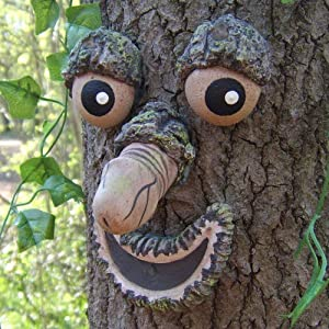 Keenface Tree Faces Decor Outdoor, Funny Resin Old Man Tree Art Decorations for Outside Garden Patio Whimsical Sculpture Statues Creative Props(Style 6)