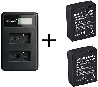 2 Piezas 1600mAh para GoPro AHDBT-201/301 Batería de la Cámara con Cargador de Batería Dual para Gopro Hero 3 3+ AHDBT-301 Batería AHDBT-201 (2 pcs Battery with Charger)
